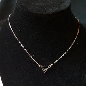 Silver Necklace With Triangle Pendant